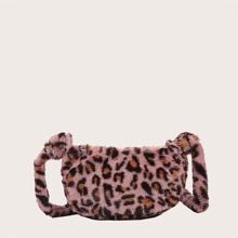 Bolso bandolera de niñas mullido de leopardo