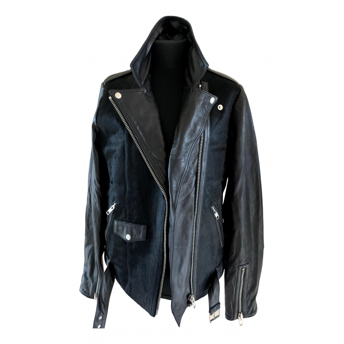 Essentiel Antwerp \N Black Leather jacket for Women 38 IT