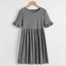 Ruffle Cuff Marled Knit Smock Dress