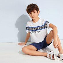 Boys Slogan Graphic Tee & Cuffed Shorts Set