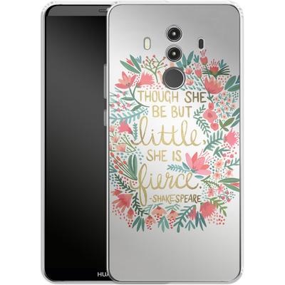 Huawei Mate 10 Pro Silikon Handyhuelle - Little But Fierce White von Cat Coquillette