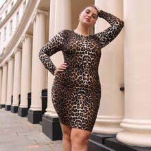 Figurbetontes Kleid mit D-Ring, Band, offener Rueckseite und Leopard Muster