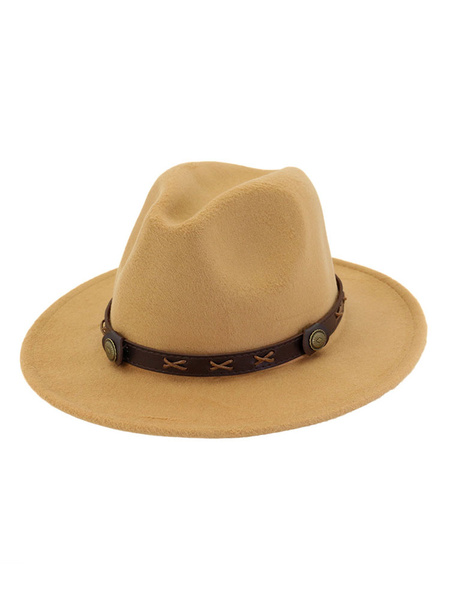 Milanoo Wool Fedora Hat Metal Detail PU Brown Bowler Hat For Men