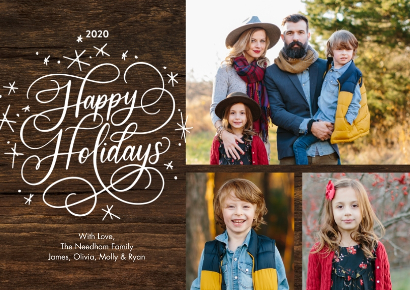 Holiday Photo Cards 5x7 Cards, Premium Cardstock 120lb with Rounded Corners, Card & Stationery -2020 Holiday Rustic Script by Tumbalina