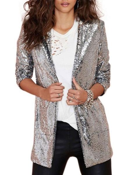 Milanoo Women Blazer Modern Sequined Turndown Collar Sequins Long Sleeves