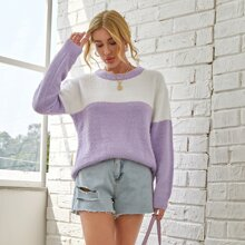 Two Tone Drop Shoulder Fluffy Knit Sweater