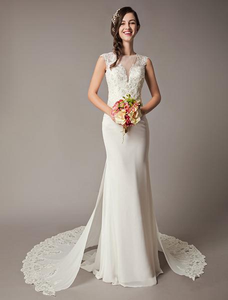 Milanoo Ivory Wedding Dresses Chapel Train Lace Sequin Chiffon Sleeveless Sheath Column Bridal Dress