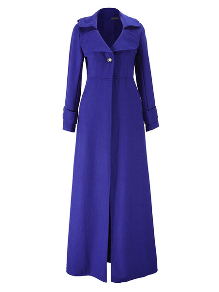 Milanoo Women Maxi Outerwear Blue Turndown Collar Long Sleeve Button Wrap Coat