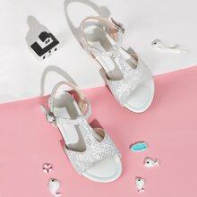 Toddler Girls Open Toe T-strap Flat Sandals