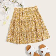Ditsy Floral Print Layered Skirt