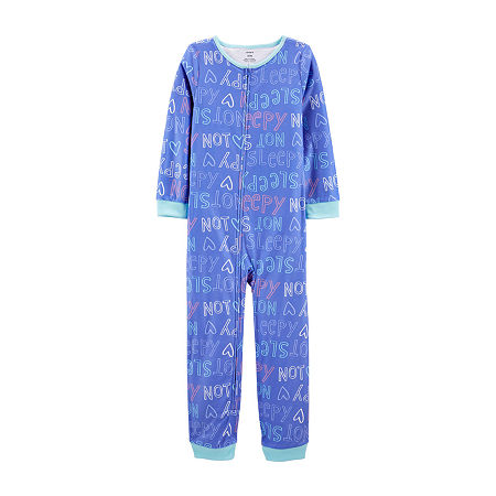 Carter's Little & Big Boys Fleece Long Sleeve One Piece Pajama, 7 , Blue