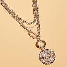 Maenner Mehrschichtige Halskette mit Muenze Anhaenger