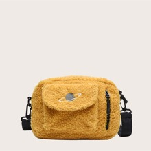 Kids Planet Embroidered Fluffy Crossbody Bag