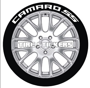 Tire Stickers CAMROSS-1921-1-4-R Permanent Raised Rubber Lettering 'Camaro SS' Logo - 4 of each -  19
