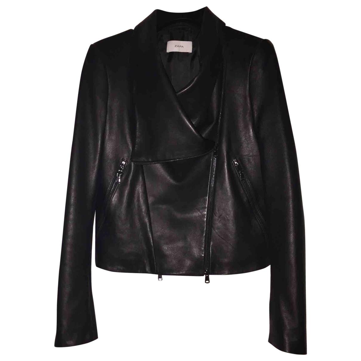 Zapa - Blouson   pour femme en cuir - noir