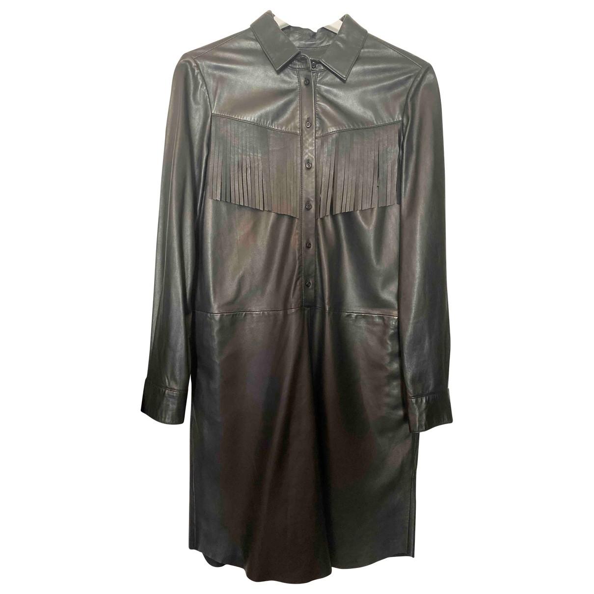 Set - Robe   pour femme en cuir - noir