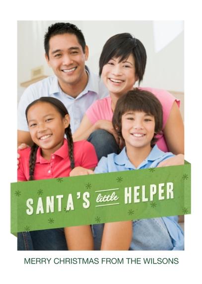 Christmas Photo Cards 5x7 Cards, Premium Cardstock 120lb, Card & Stationery -Santa's Little Helper