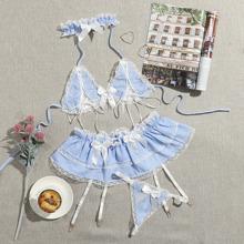 Gingham Lace Trim Garter Maid Costume Set & Choker