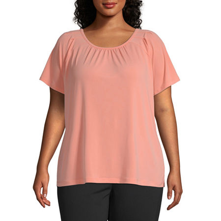 Liz Claiborne Short Sleeve Pintuck Blouse - Plus, 1x , Pink