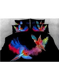3D Parrots Comforter Soft Lightweight Machine Washable 5-Piece Warm Comforter Sets