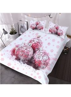 Christmas Balls 3D Pink Comforter 3-Piece Soft Comforter Sets with 2 Pillowcases