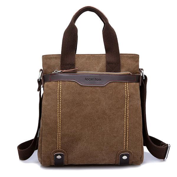 Vintage Canvas Waterproof Crossbody Bag Simple Business Handbag For Men