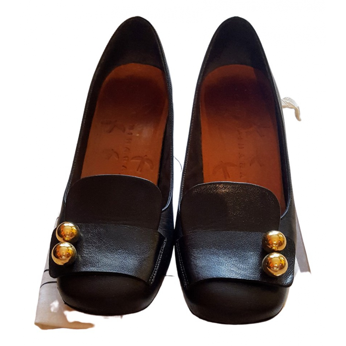 Chie Mihara \N Black Leather Flats for Women 38 EU