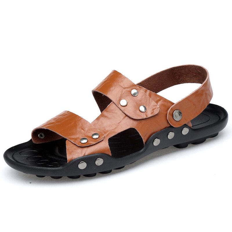 Men Non Slip Metal Decoration Large Size Beach Casual Leather Sandals