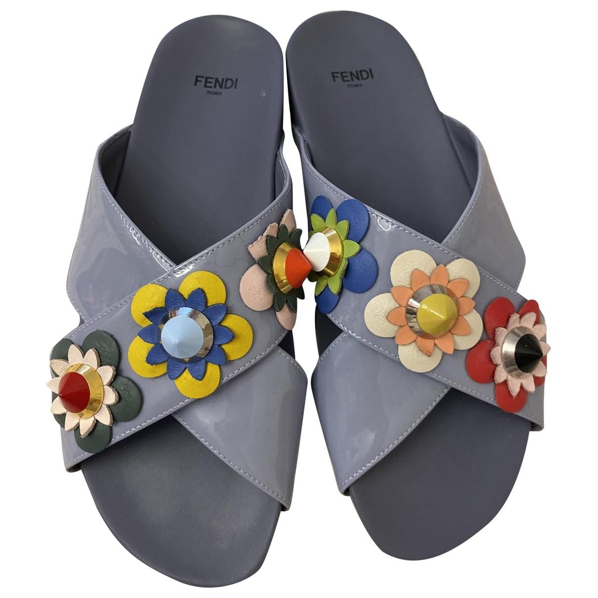 Fendi - Sandales   pour femme en cuir verni - bleu