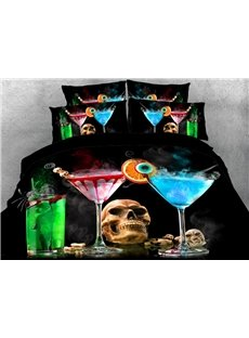 Vivilinen Skull with Halloween Drinks Printed 4-Piece 3D Bedding Sets/Duvet Covers