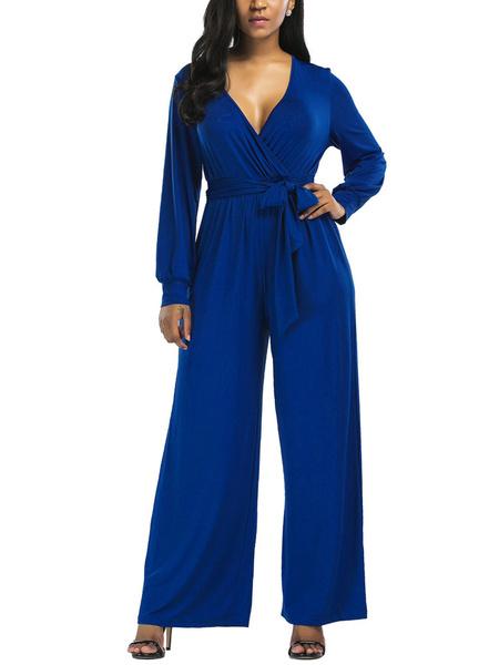 Milanoo Blue V Neck Long Sleeves Cotton Blend Straight Summer Playsuit