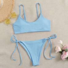 Bañador bikini con cordon lateral unicolor