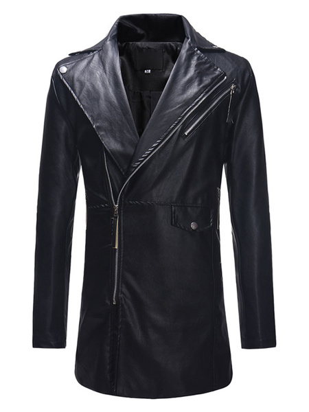 Milanoo Men Leather Coat Surplice Zipper Trench Coat PU Long Sleeve Casual Winter Coat