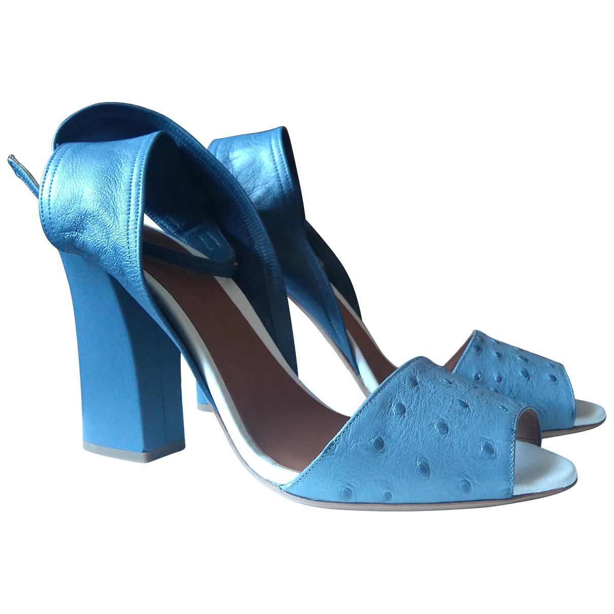 Emporio Armani - Sandales   pour femme en autruche - bleu