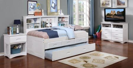 0222-TW_0292-EKT_0290-TW Twin Bookcase Day Bed With 3 Drawer Storage And Twin Trundle Bed in White