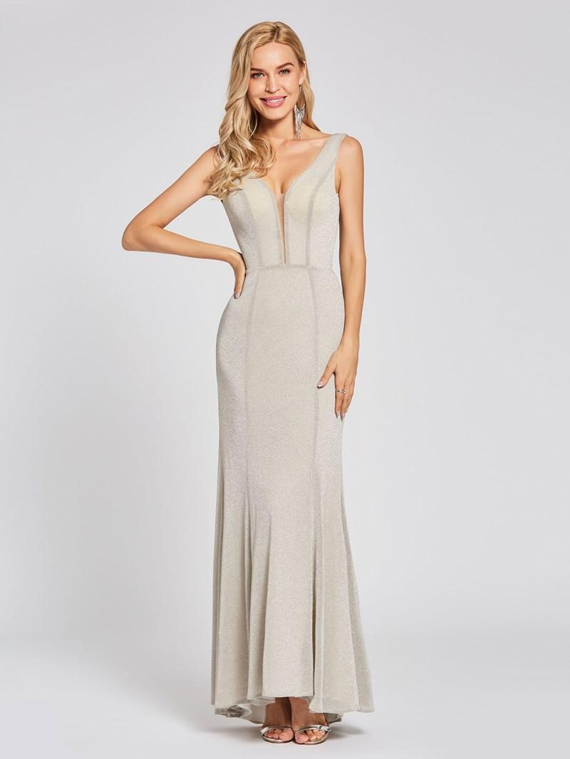 Ericdress A Line V Neck Backless Evening Dress