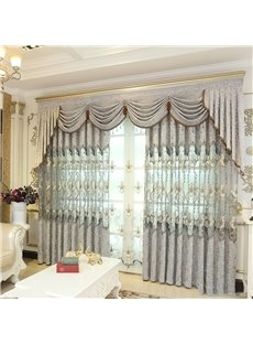 European Elegant Embroidered Flowers High Quality Organza Custom Sheer Curtain for Living Room and Bedroom