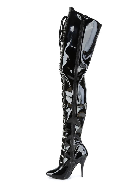 Milanoo Women Sexy Boots Pointed Toe Zipper Sequins Stiletto Heel Rave Club Black Over The Knee Boots