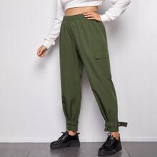 Pantalones cargo bajo con cinturon