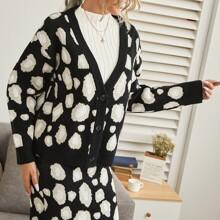 Button Front Drop Shoulder Leopard Cardigan