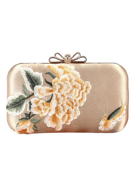 Milanoo Evening Clutch Purse Embroidered Floral Rhinestone Beaded Wedding Party Handbags