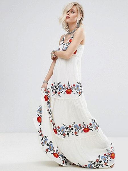 Milanoo Vestido largo blanco  Moda Mujer sin mangas de algodon mezclado Vestidos Vestidos bohemios muy escotado por detras con bordado con tirantes Ve
