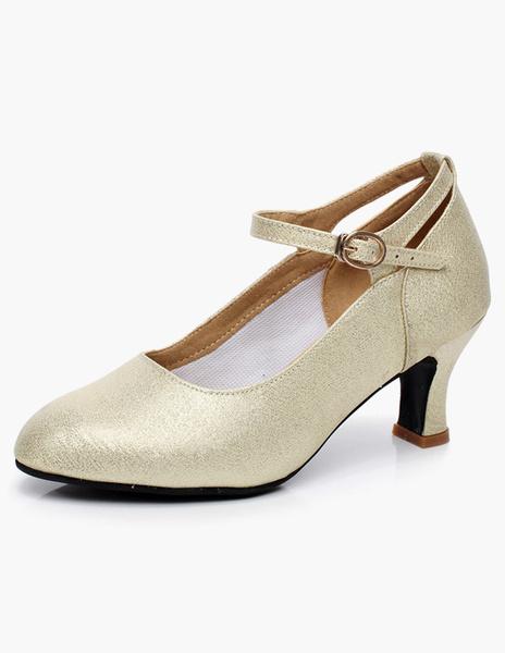 Milanoo Gold Ballroom Shoes Round Toe Buckle Detail Glitter Latin Dance Shoes Kitten Heel Pumps
