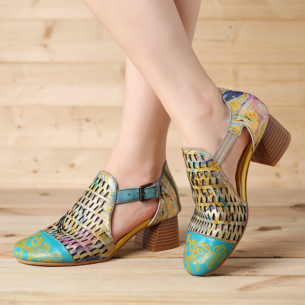 SOCOFY Hand Painted Retro Veins Genuine Leather Splicing Big Head Hollow Soft Sandals