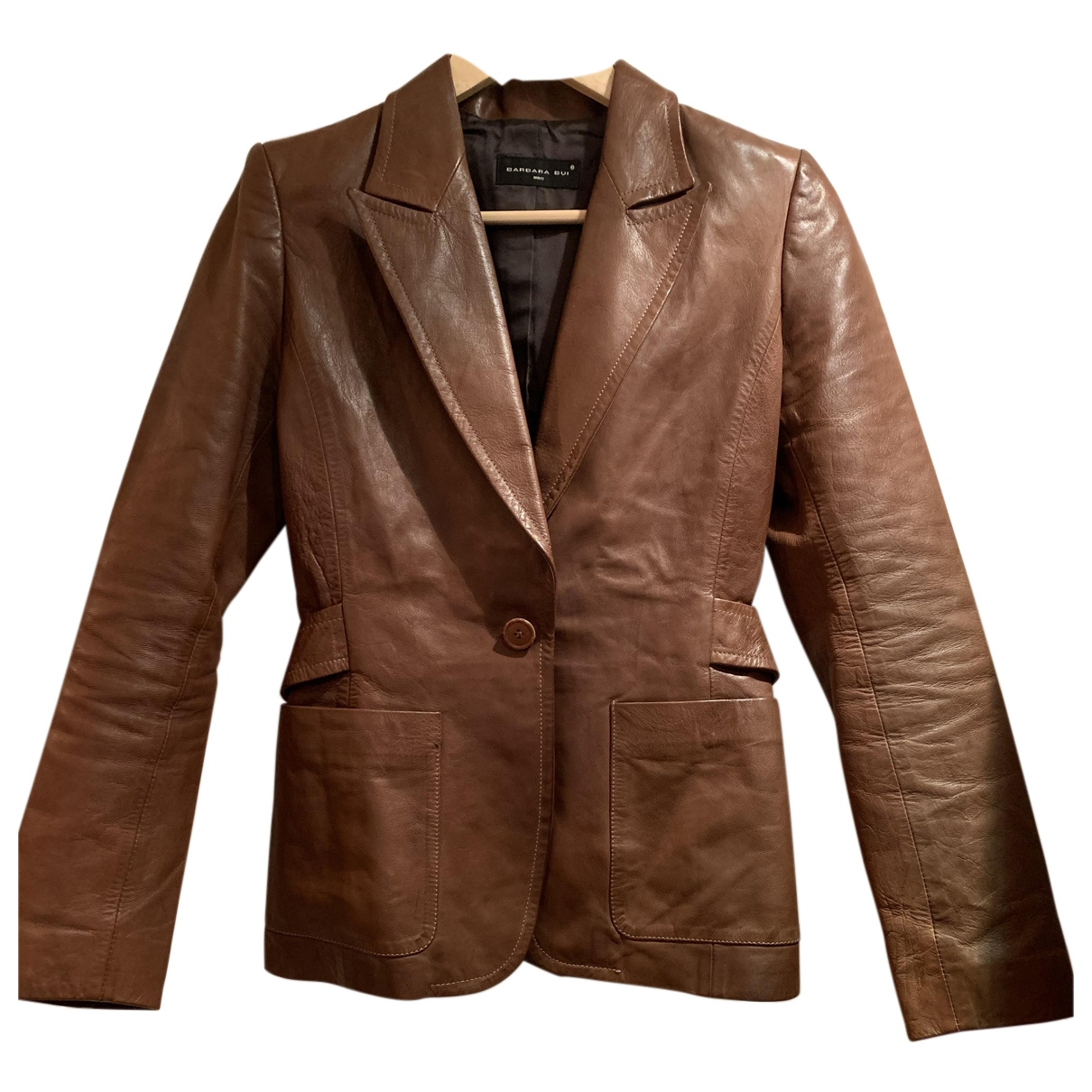 Barbara Bui \N Brown Leather Leather jacket for Women 36 FR