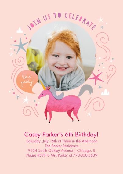 Kids Birthday Party Flat Matte Photo Paper Cards with Envelopes, 5x7, Card & Stationery -Birthday Unicorn - Invitation