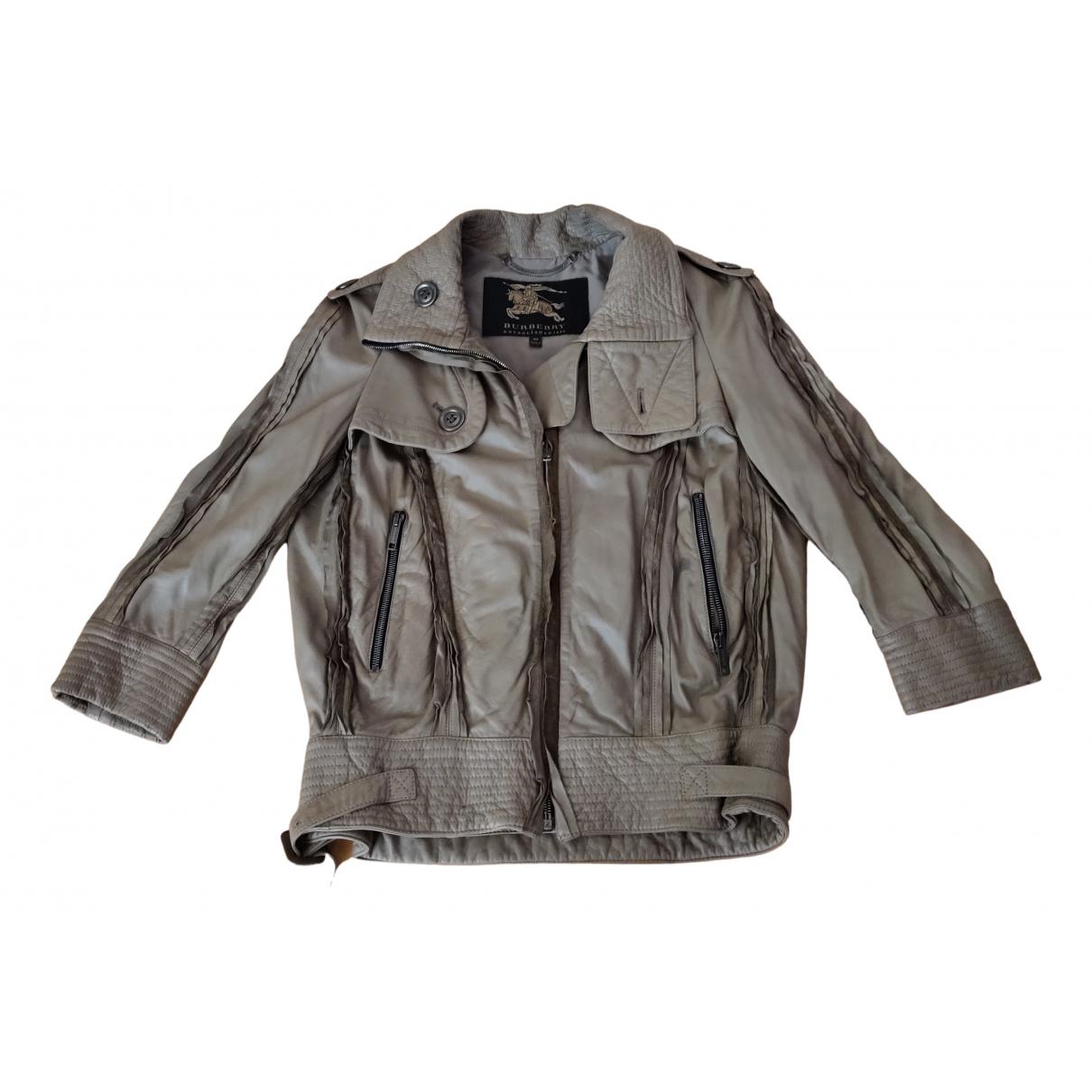 Burberry - Veste   pour femme en cuir - marron
