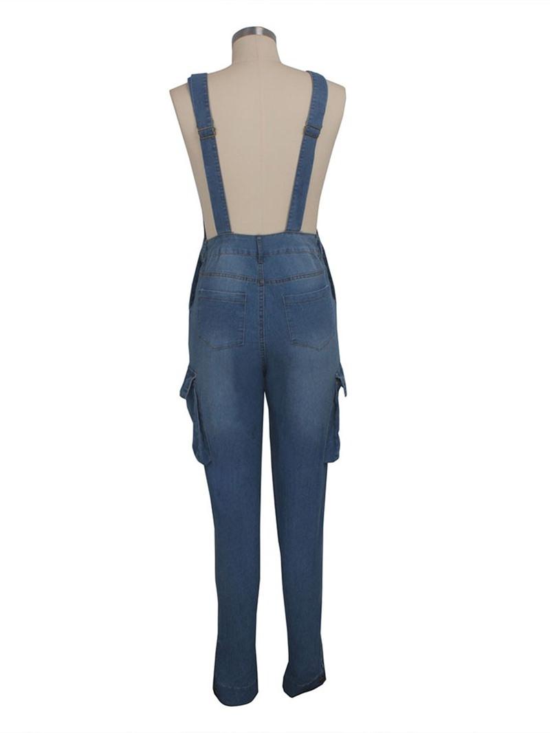 Ericdress Plain Pocket Slim Suspenders Jumpsuit