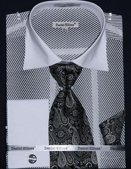 Men's Stripe Two Tone French Cuff Cotton White Shirt Tie & Hanky Set