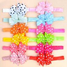 12pcs Baby Polka Dot Pattern Bow Decor Headband
